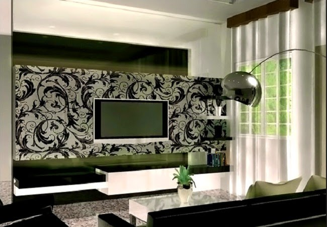 Contemporary living room with wallpaper decoration