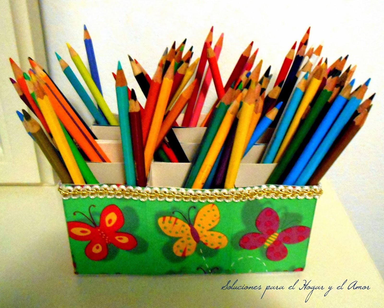 Organizador de Lápices Reciclando Cajas y Decoupage, manualidades con cajitas de carton