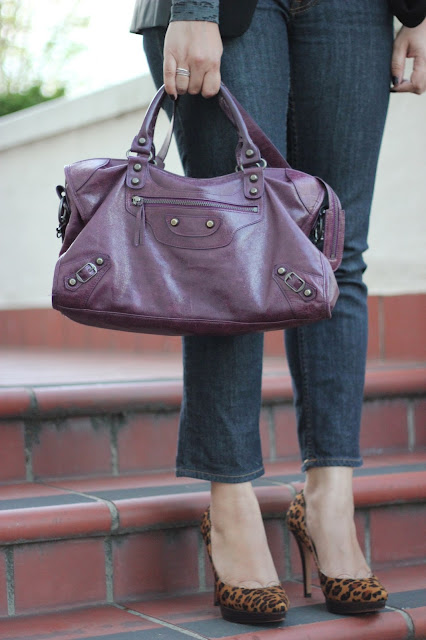 Plum Handbag and Leopard Pumps