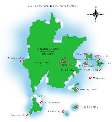 Redang Island diving locations map