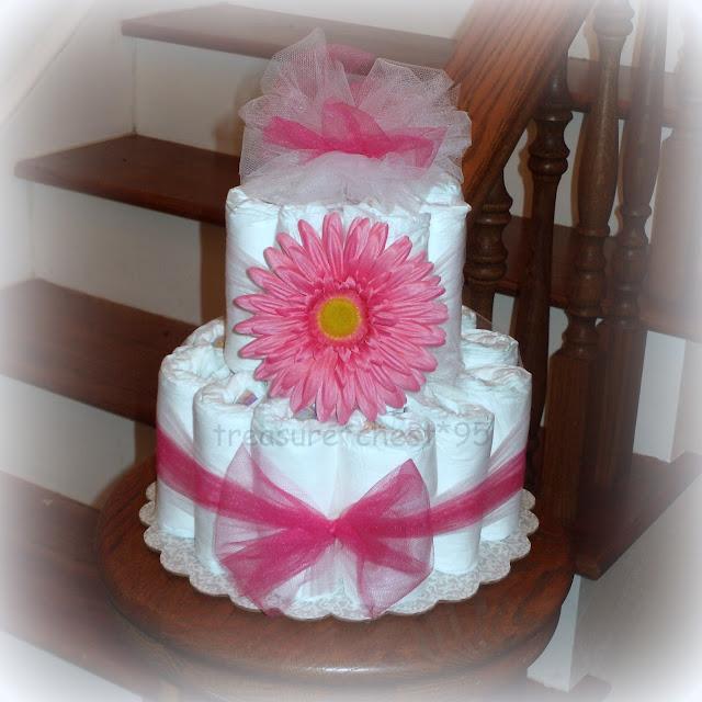 Pink Daisy Cake Decoration : Pink Gerber Daisy Diaper Cake Baby Shower Centerpiece Girl ...