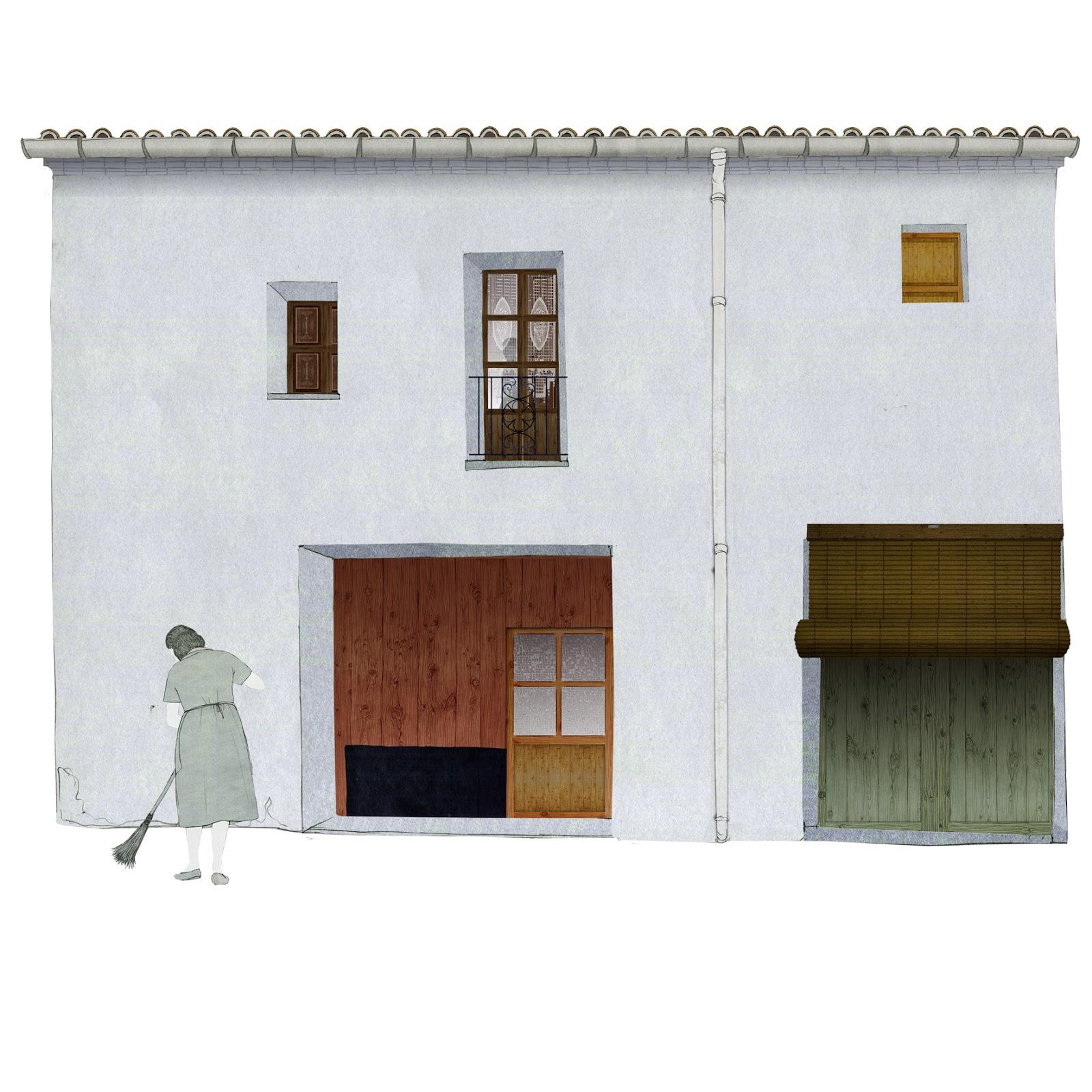 arquitectura, rural, casa, barriendo la calle,  dibujo