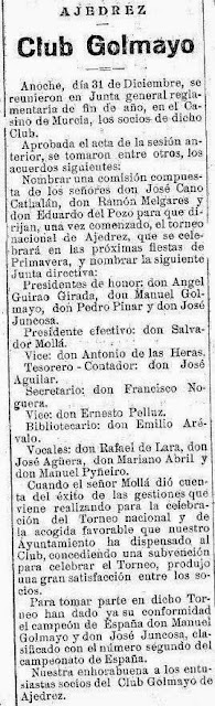 Artículo sobre la preparación del I Torneo Nacional de Ajedrez de Murcia 1927, El Liberal, 1 de enero de 1927