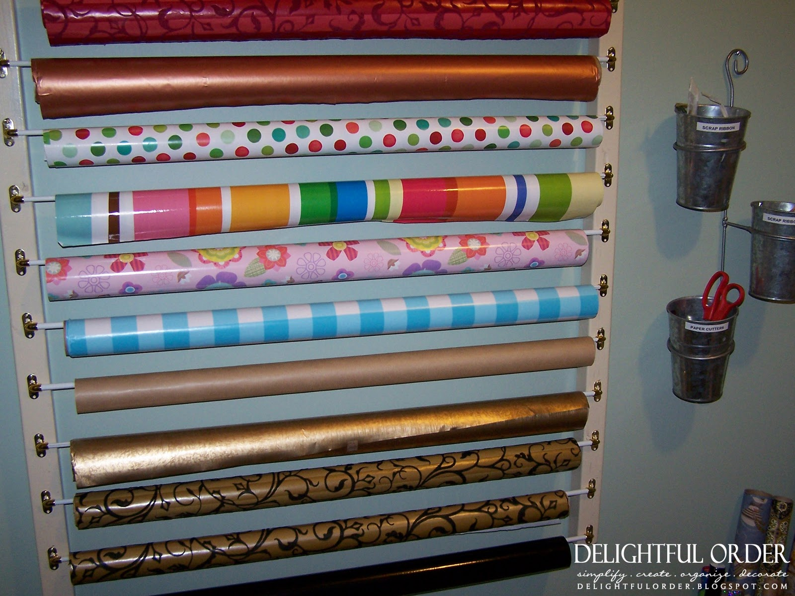 Craft room island drawer for wrapping paper