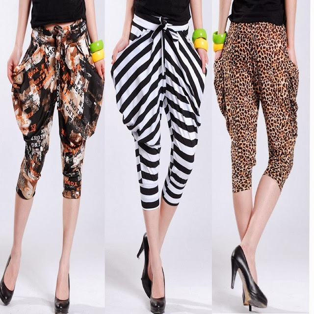Casual leopard print stripe harem pants knee length trousers