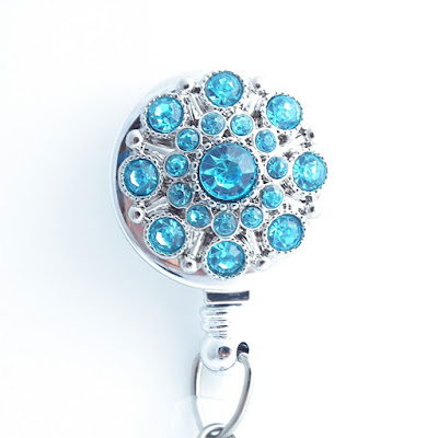 Turquoise Blue Rhinestone Badge Reel