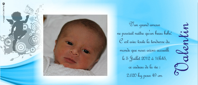 Extrêmement Mes petits miracles : SOLINE & VALENTIN: Le Faire-Part de  AZ16