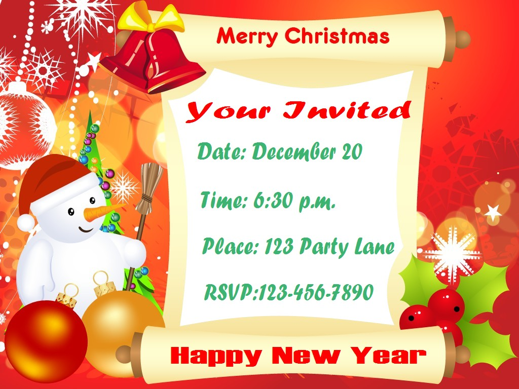 Christmas Carol Invitation Template Fun new years eve favors how ...