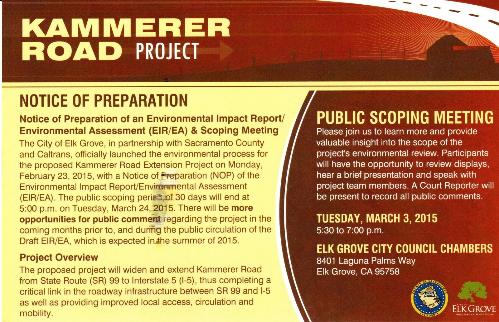 City of Elk Grove to Hold Workshop on Proposed Kammerer Road Project