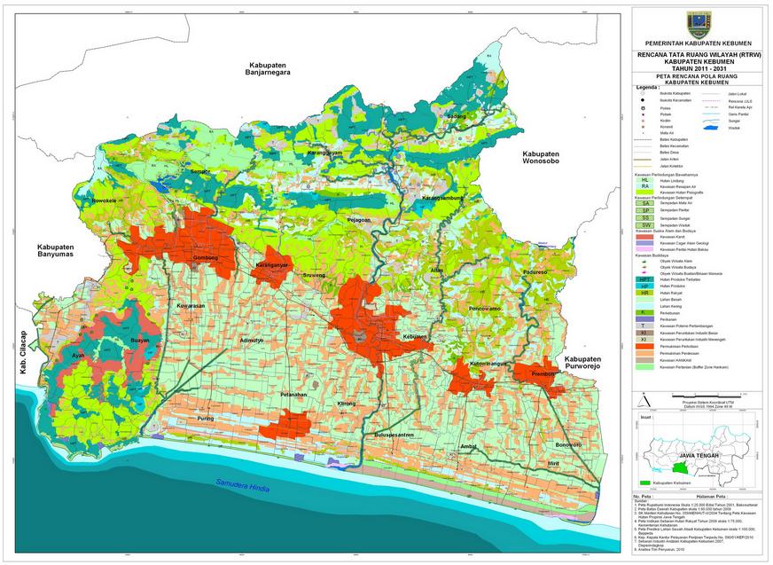 Gambar Peta Kabupaten Kebumen Versi Cetak Pemerintahan
