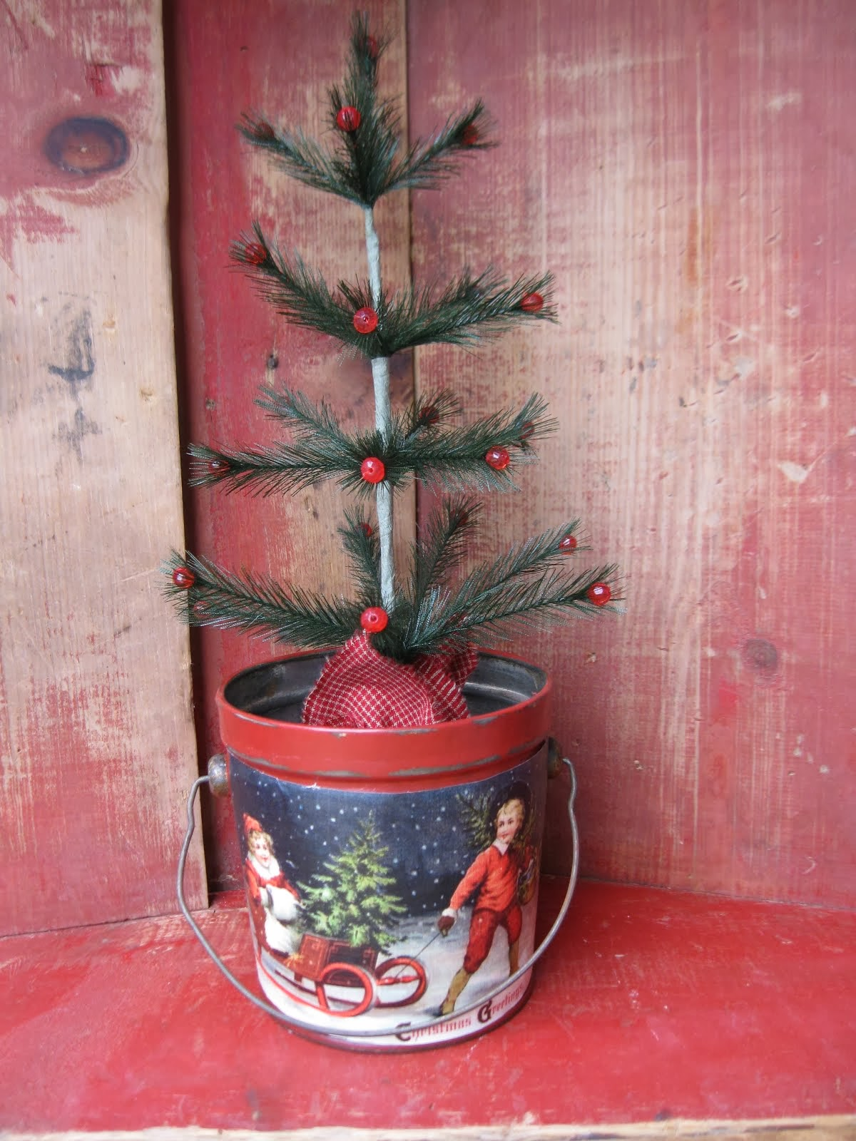 Old Postcard Pail and Tree