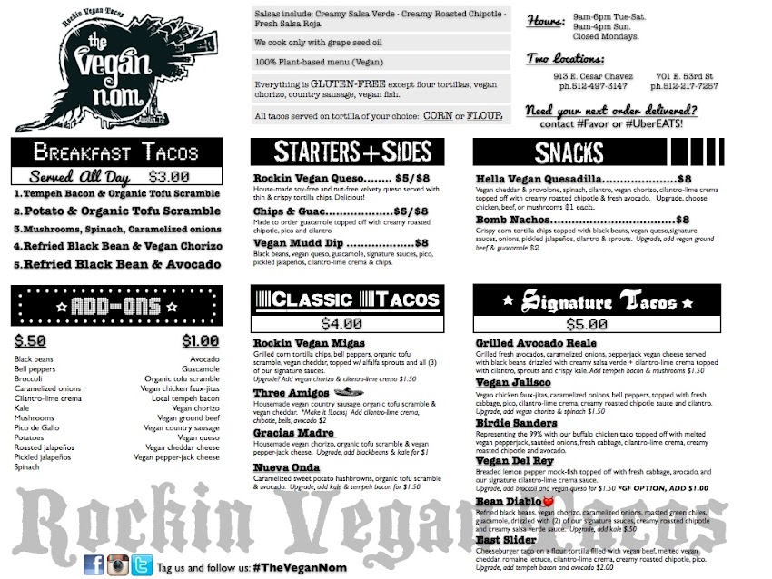 Vegan Nom Menu 2017