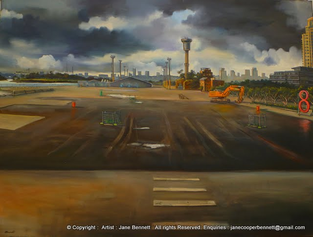 demolition of wharf at Barangaroo oil painting by artist Jane Bennett