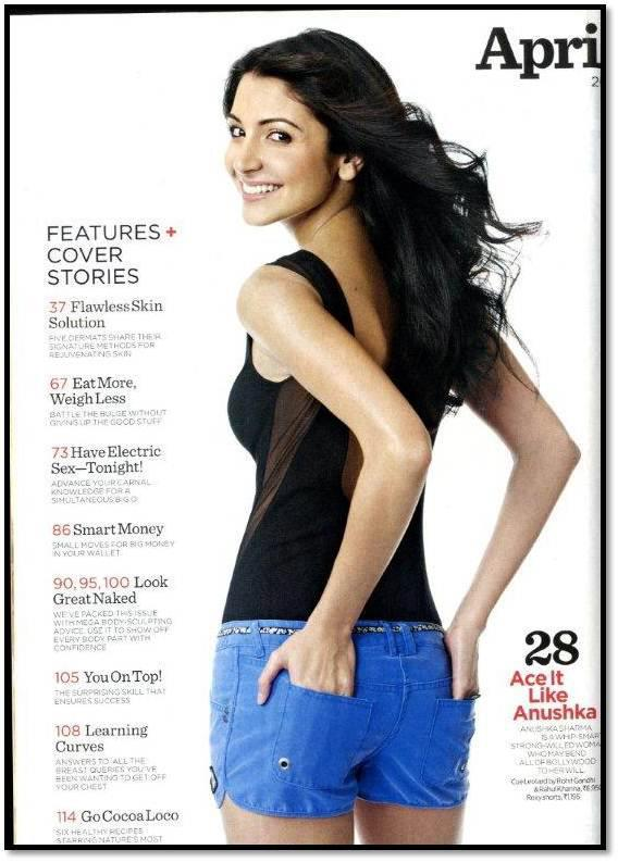 Anushka Sharma in blue denim shorts, black top -Women's Health India  -  Anushka Sharma's Women's Health India Scans – April 2012