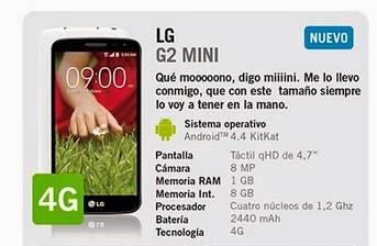 LG G2 Mini con YOIGO: precios y características