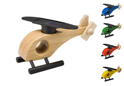 Solar powered wooden Helicopter