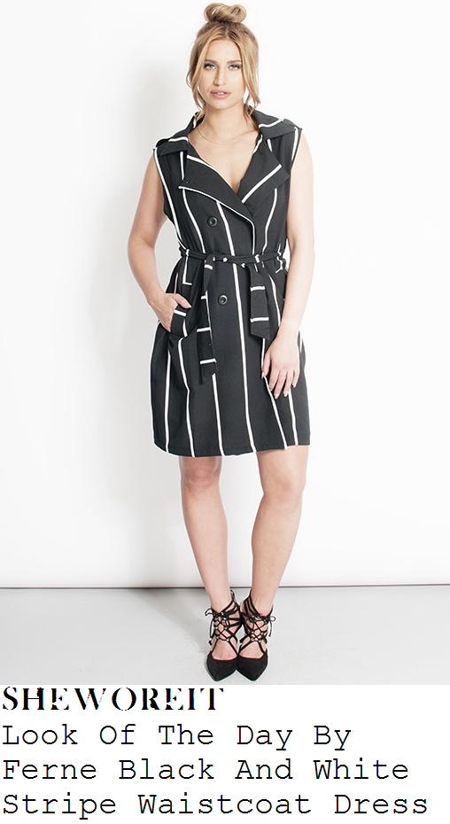 ferne-mccann-black-white-stripe-sleeveless-waistcoat-dress-airport