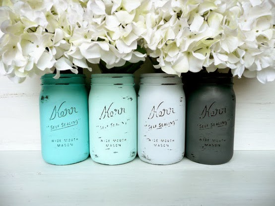 mason jars with beachy colors, DIY