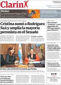 05/12/2019  PRIMERA PAGINA  DE EL CLARÍN  DE ARGENTINA