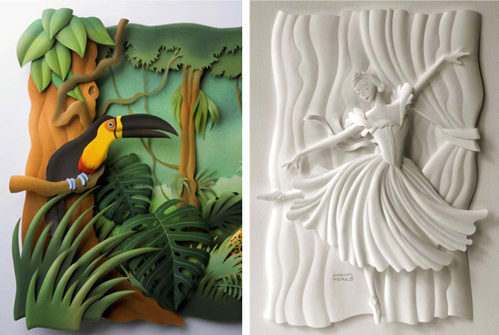 Paper Sculptures by Carlos Meira