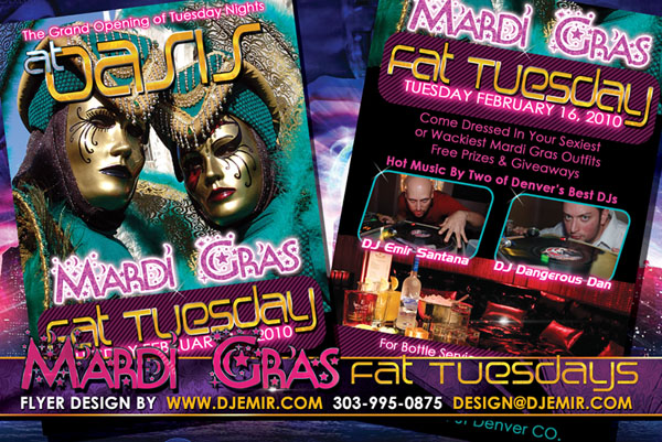 Mardi Gras Fat Tuesdays Flyer Design