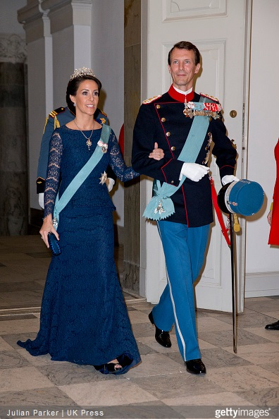 Princess Marie of Denmark and Prince Joachim of Denmark attend a Gala Dinner at Christiansborg Palace on the eve of The 75th Birthday of Queen Margrethe of Denmark