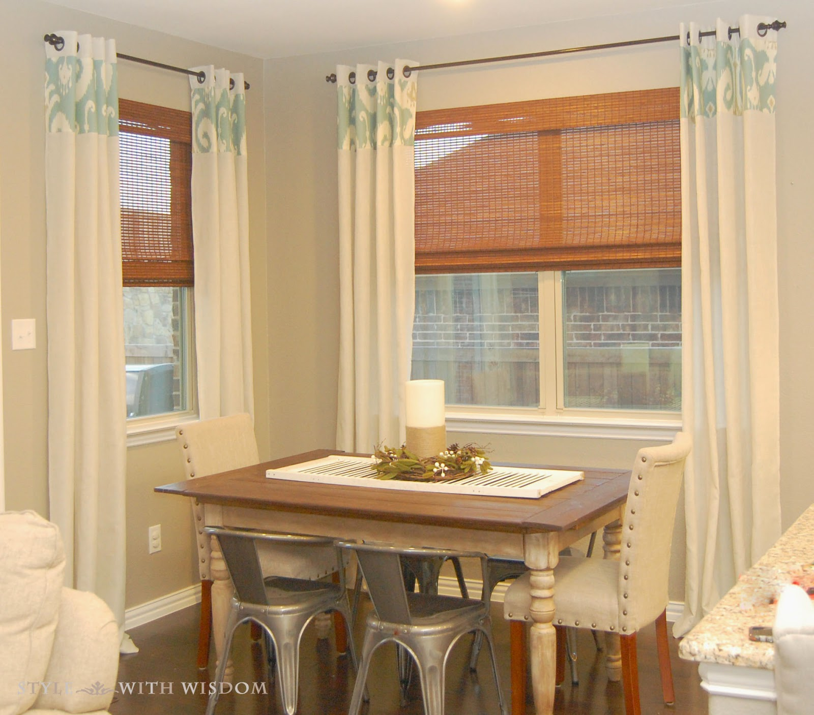 Ikat curtains rustic dining room