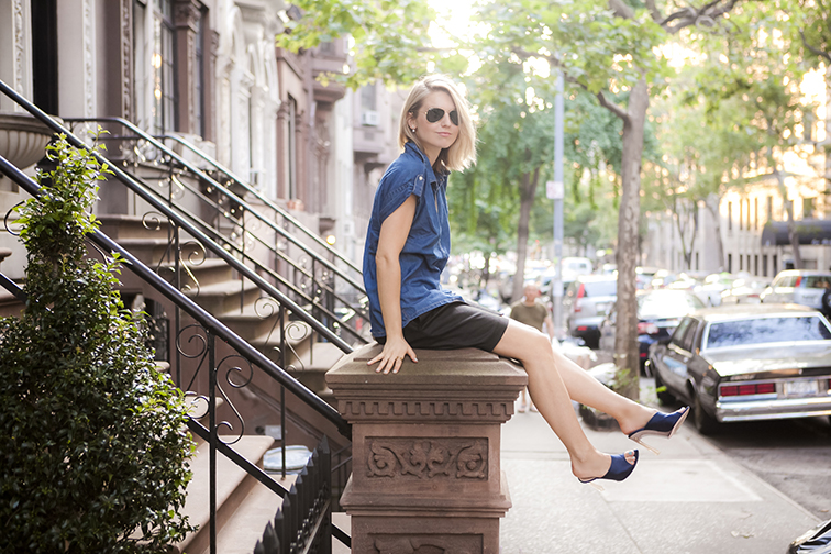 Sitting on a brownstone column, Upper West Side, golden hour, New York City, summer nights, fashion blogger, style blogger, denim, satin mules, Zara, Tibi, Nina Ricci, Ray-Ban
