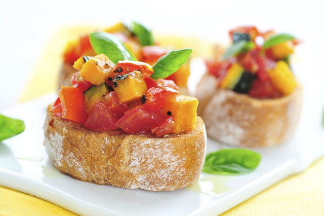 Tomato and pumpkin bruschetta