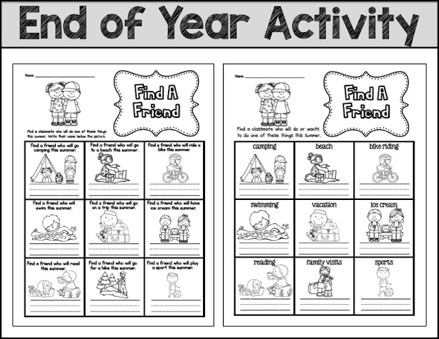 End Of Year Fun Worksheets : Primary chalkboard find a friend last day of school edition