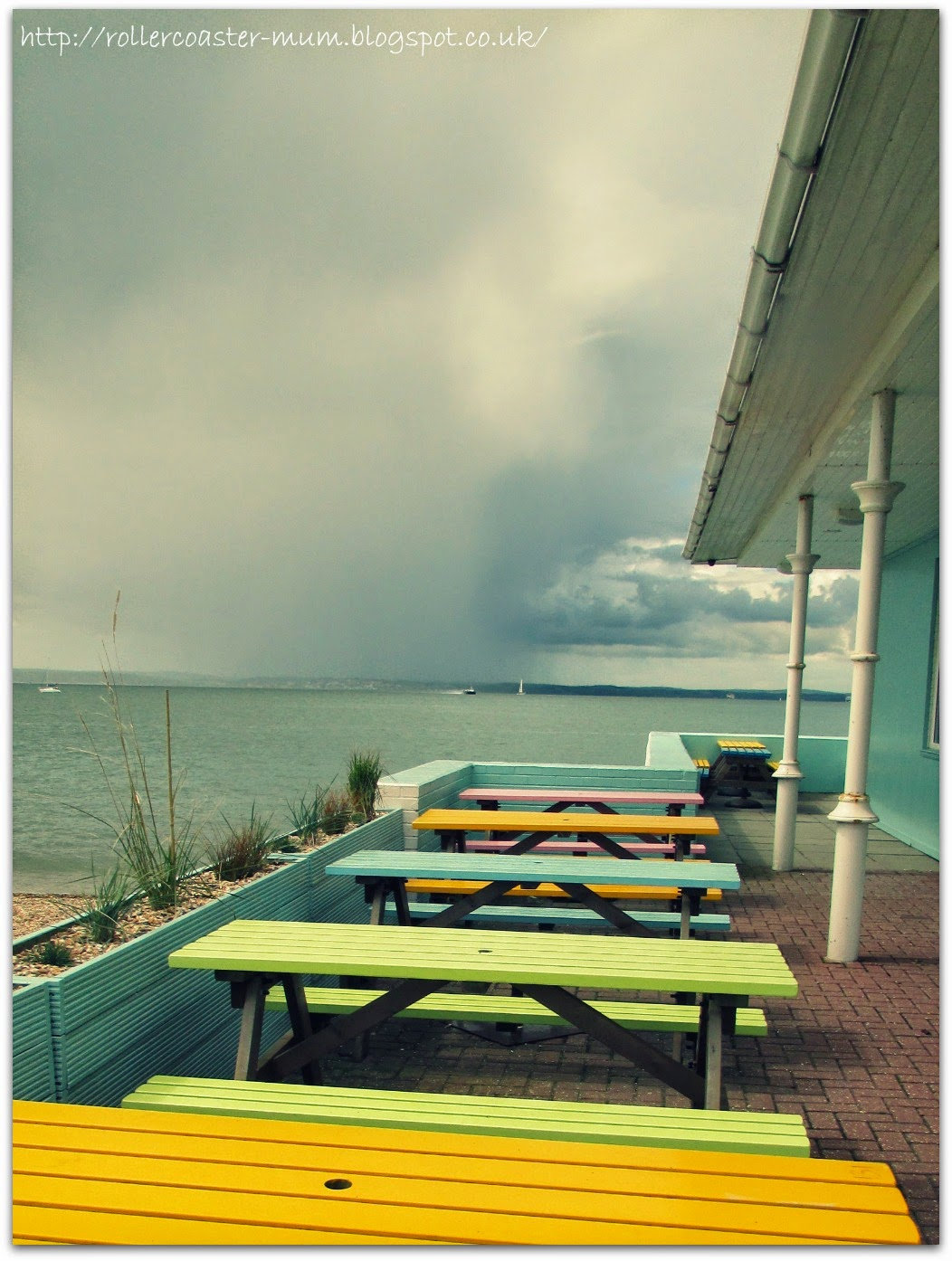 benches by the sea, seaside colours