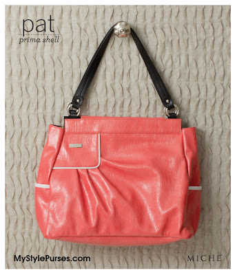Miche Bag Pat Prima Shell - Coral and White Purse