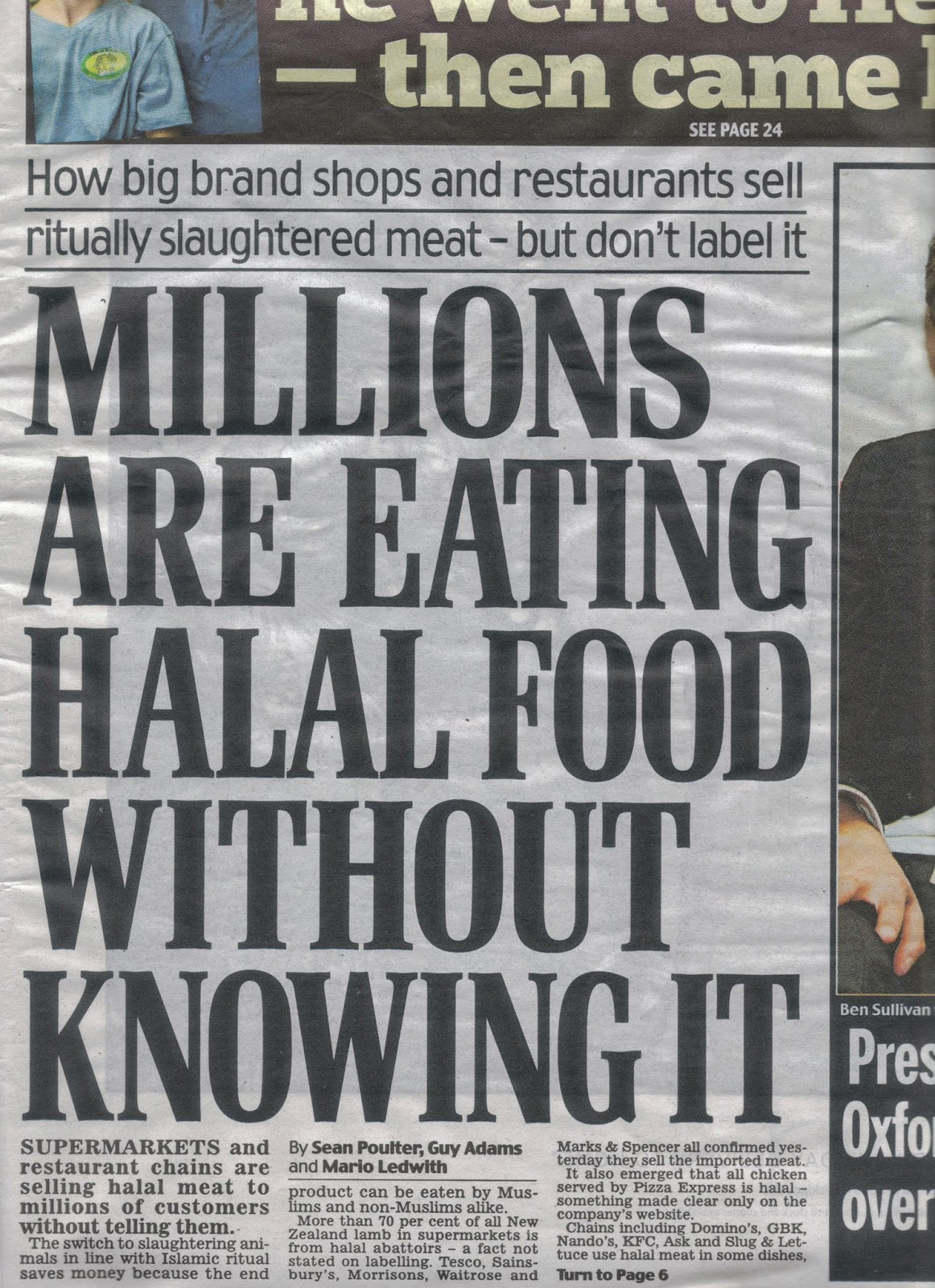 Halal meat story Daily Mail