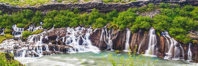 Waterfall Hraunfossar, Reykholt Iceland