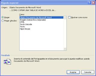 Opciones del cuadro Pegado especial en Excel