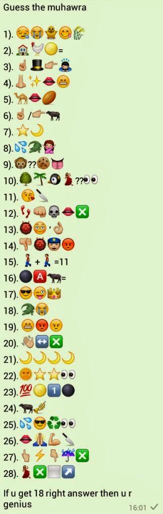 Guess the Muhawra Whatsapp Emoticons Quiz