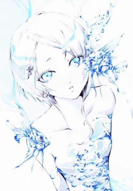 Charmal ilustrações mulheres garotas estilo anime mangá Azul de peixes e anjo
