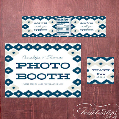 bold modern ikat printable diy photo booth sign reception stationery