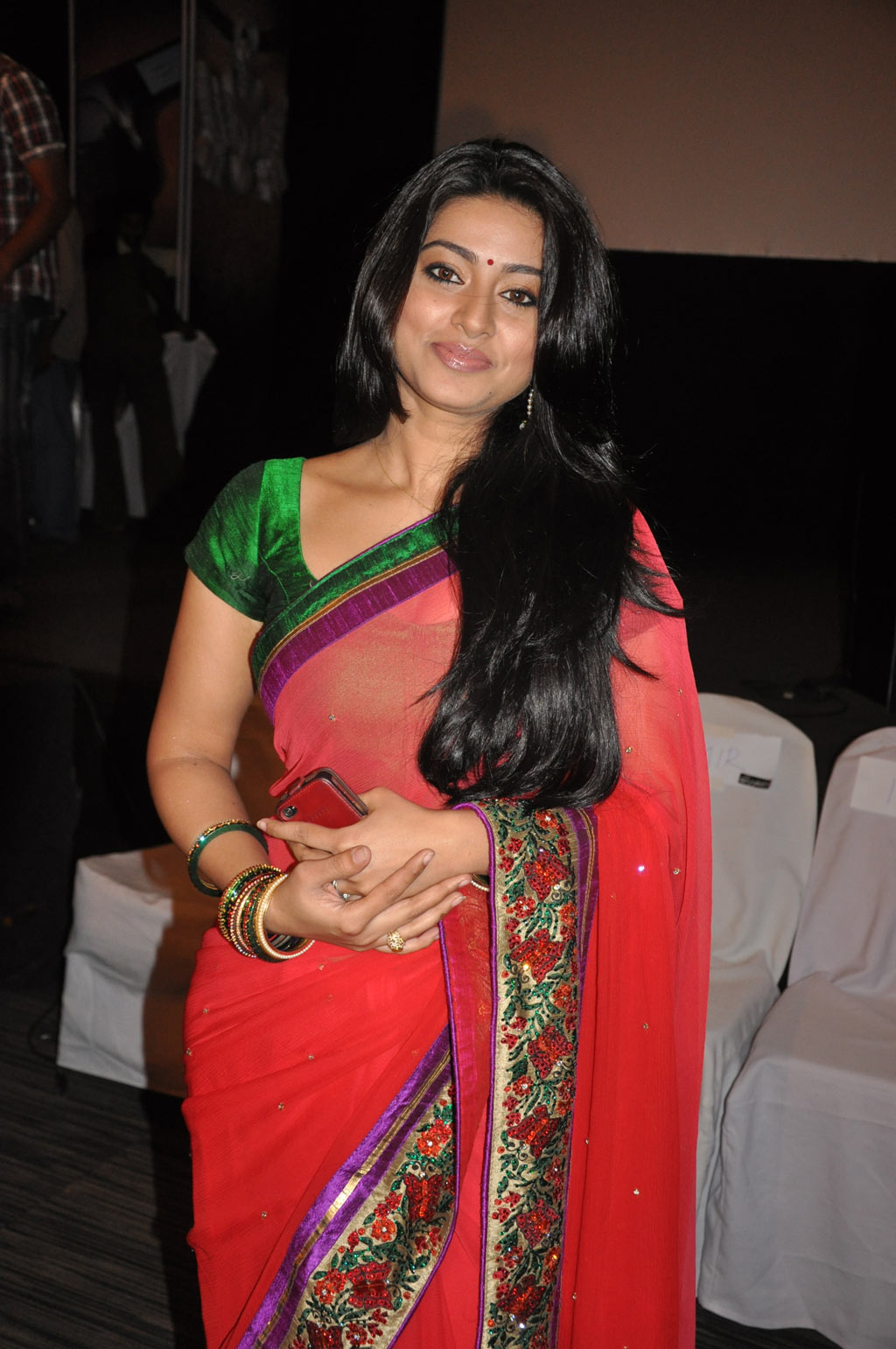 Gorgeous sneha in red saree looking sparkling and ornamental