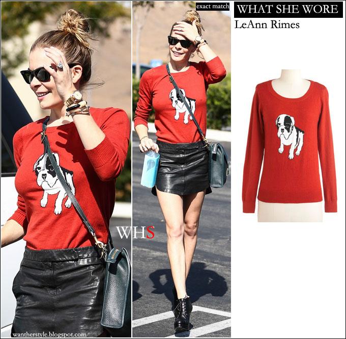 leann rimes dog print red sweater fashion