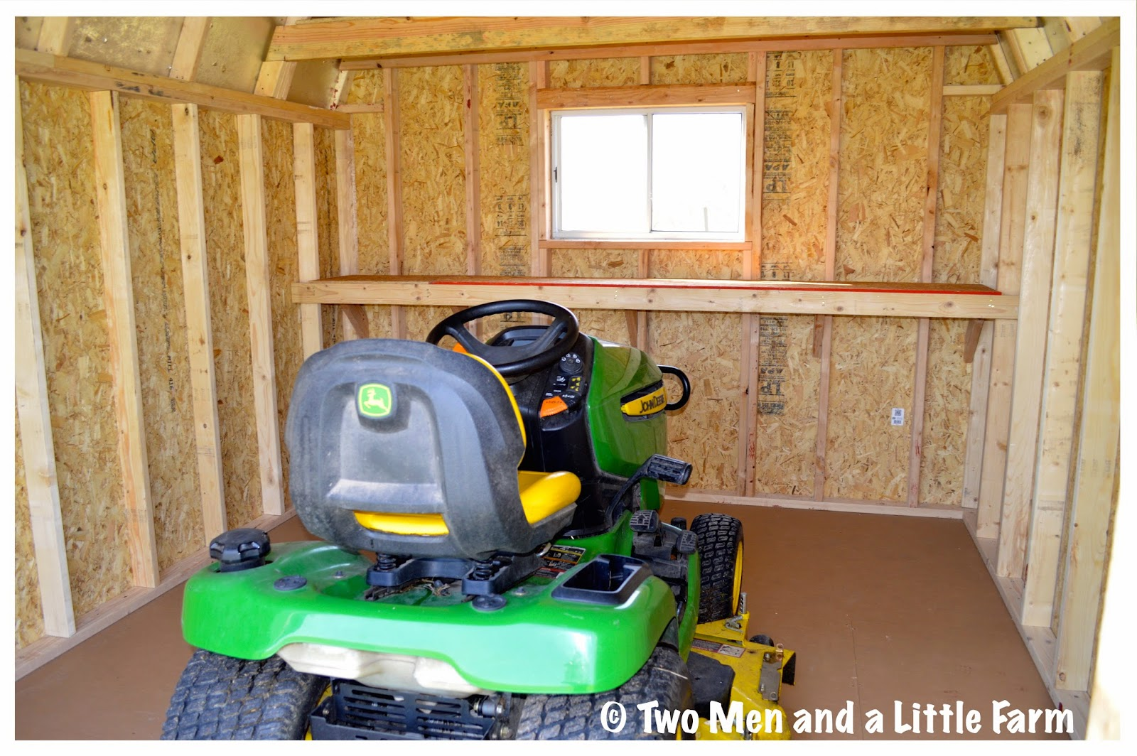 Two men and a little farm barn and shed tour for Garden shed for lawn mower