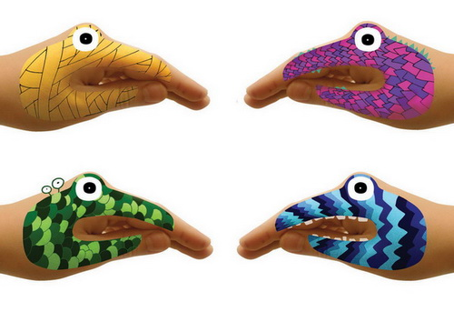 Temporary tattoos for talking hands. Transform your hands into little monsters or animals!