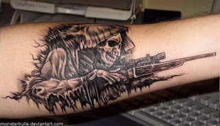 Death tattoo: Grim Reaper portrayed as a sniper