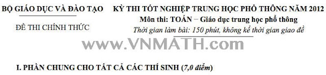 dap an, de thi, tot nghiep, nam 2012, mon toan, thpt,