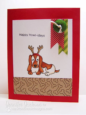 Happy Howl-idays Basset Hound card using Canine Christmas by Newton's Nook Designs