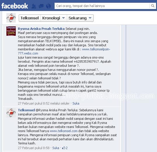 Laporkan ke Facebook Telkomsel