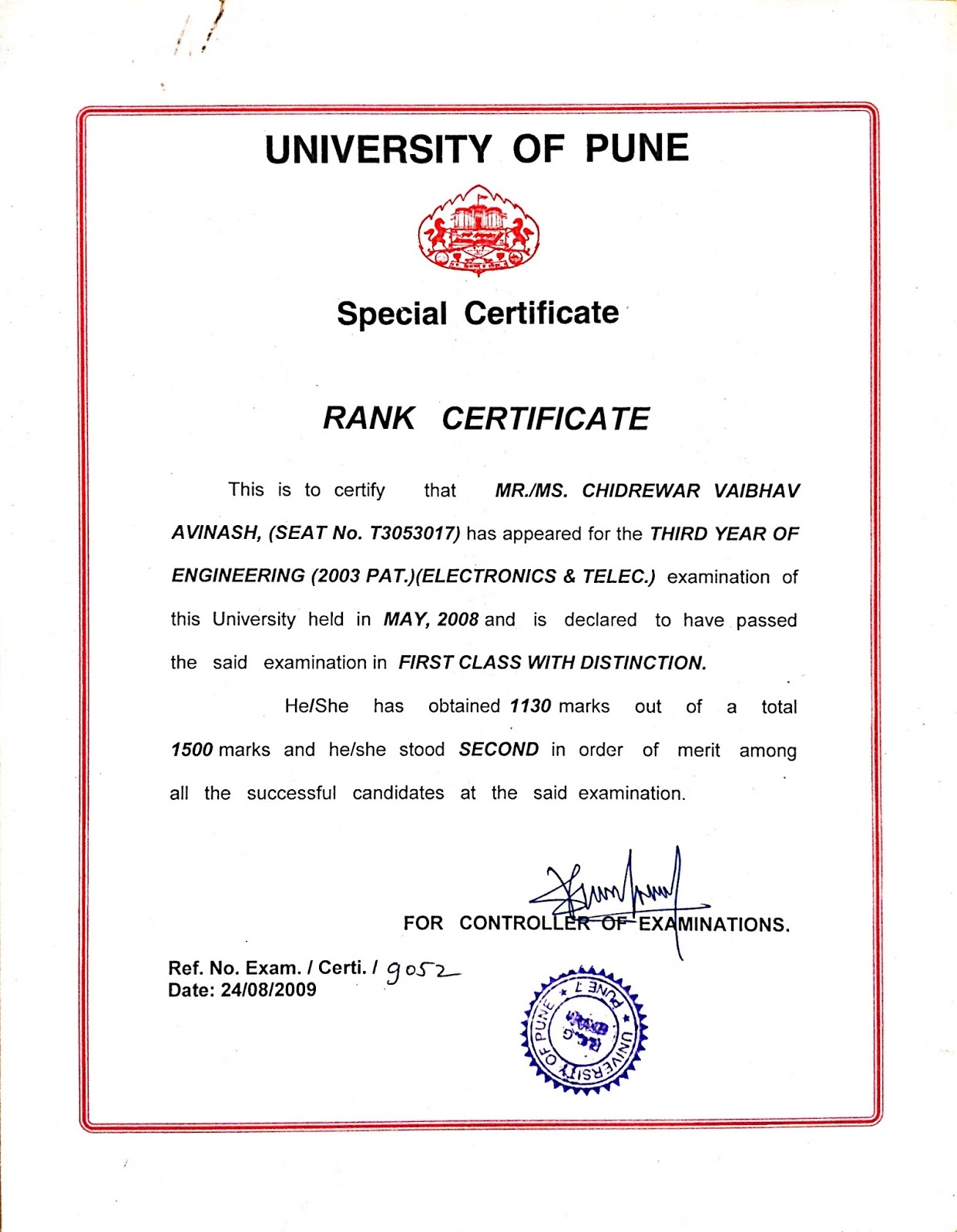 Vaibhav Chidrewar December 2010 – Merit Certificate Comments