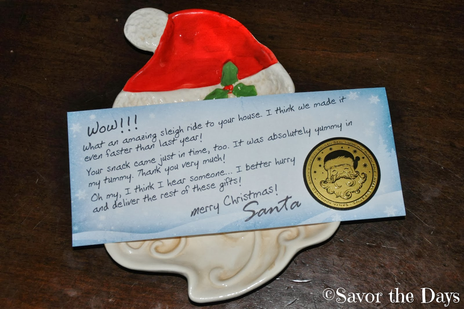 Savor the days december 2013 eventually they noticed that santa ate the treats they left for him he even left a thank you note for them spiritdancerdesigns Images