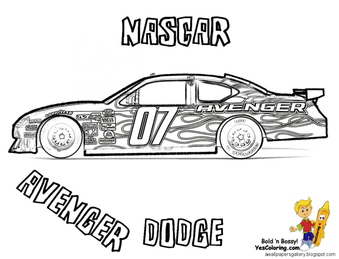 Car Coloring Pages Side View : Nascar side view drawing wallpapers gallery
