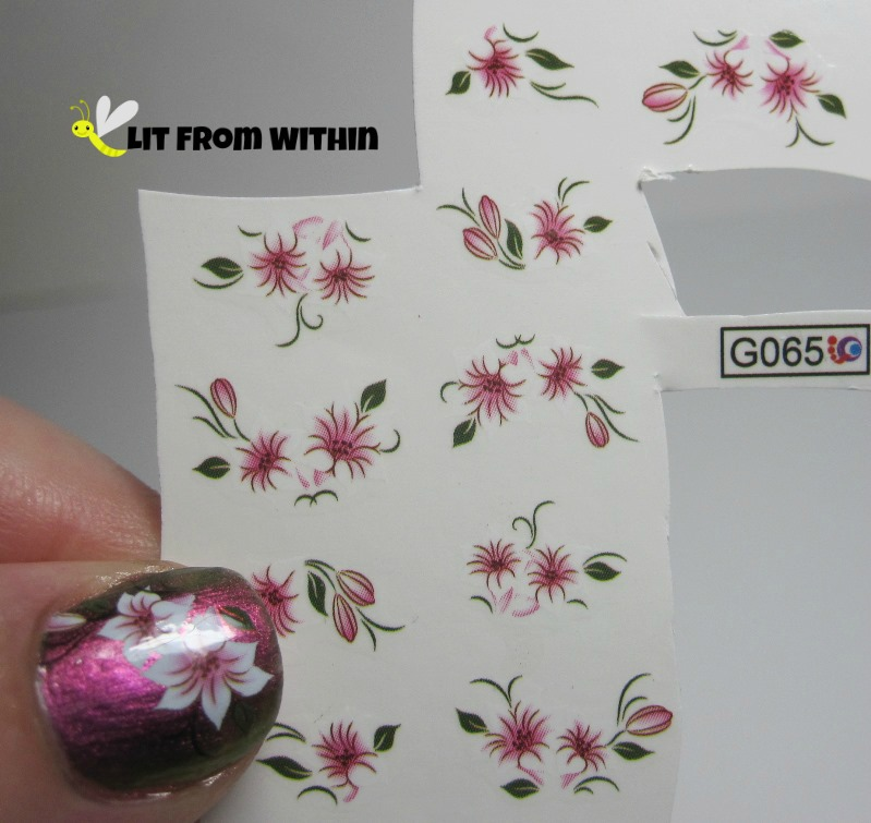 Lily water decals from Born Pretty Store